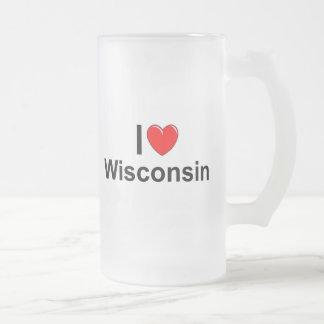 Amo (corazón) Wisconsin Taza De Cristal