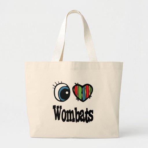 Amo (corazón) Wombats Bolsa Tela Grande