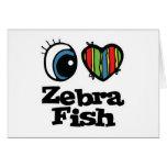 Amo (corazón) Zebrafish Tarjeton