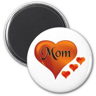 """Amo corazones de la mamá con la palabra """"mamá """" imanes para frigoríficos"""