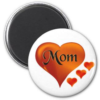 """Amo corazones de la mamá con la palabra """"mamá """" imán redondo 5 cm"""