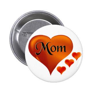 Amo corazones de la mamá con la palabra mamá pins