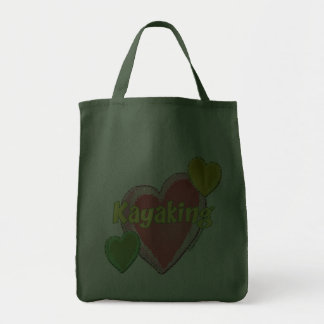 Amo corazones del kajak bolsa tela para la compra