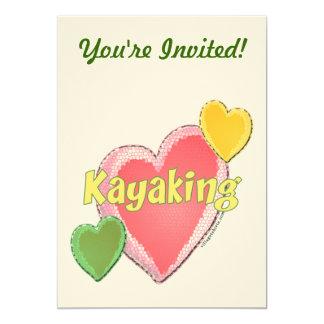 """Amo corazones del kajak invitación 5"""" x 7"""""""