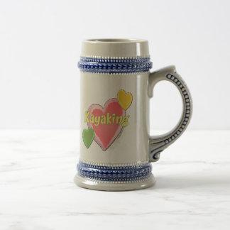 Amo corazones del kajak jarra de cerveza