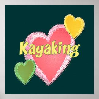 Amo corazones del kajak poster