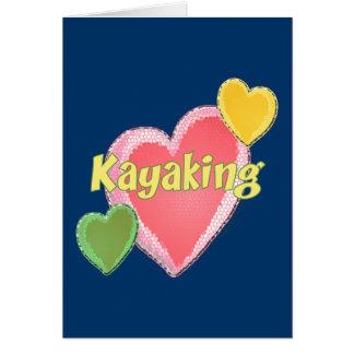 Amo corazones del kajak tarjeta pequeña