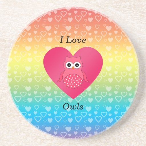 Amo corazones rosados del arco iris de los búhos posavasos personalizados