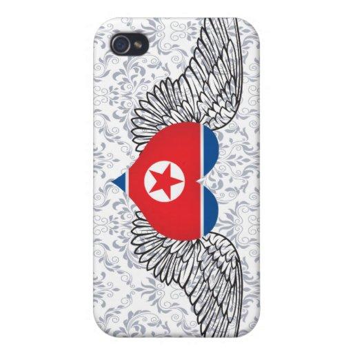 Amo Corea del Norte - alas iPhone 4 Protectores