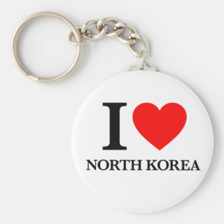 Amo Corea del Norte Llavero Redondo Tipo Pin