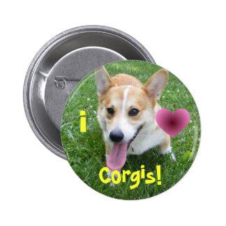 ¡Amo Corgis! Botón Pin Redondo De 2 Pulgadas