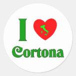 Amo Cortona Italia Etiquetas Redondas