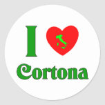 Amo Cortona Italia Pegatina Redonda