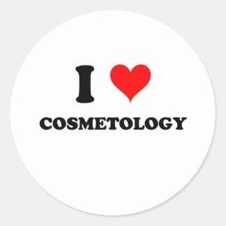 Amo cosmetología pegatina redonda