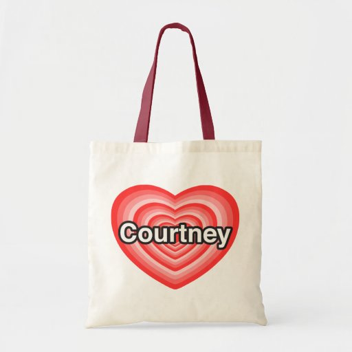 Amo Courtney. Te amo Courtney. Corazón Bolsa Tela Barata