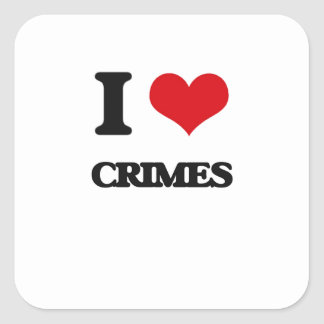 Amo crímenes pegatinas cuadradas personalizadas