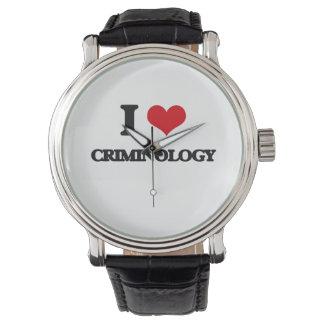 Amo criminología relojes de pulsera