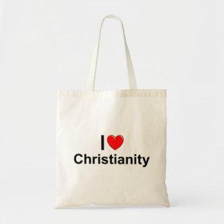 Amo cristianismo (del corazón) bolsas de mano