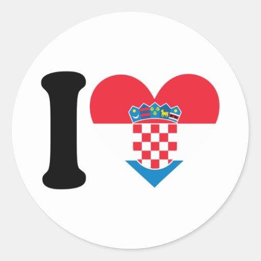 Amo Croacia Pegatina Redonda