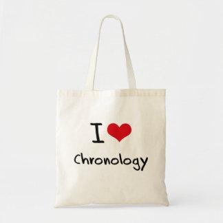 Amo cronología bolsas lienzo