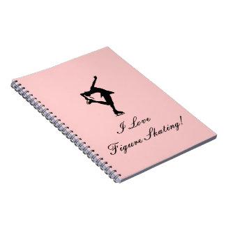 Amo CUADERNO del patinaje artístico, rosado