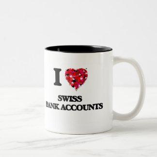 Amo cuentas bancarias suizas taza de café de dos colores