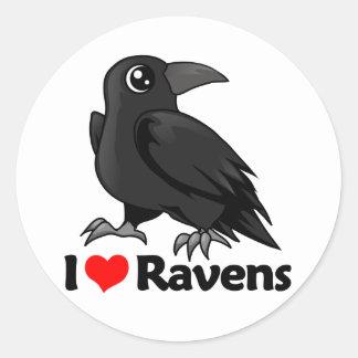 Amo cuervos etiquetas redondas