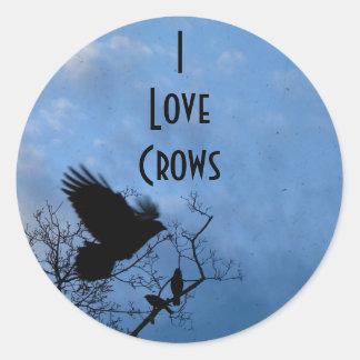 Amo cuervos etiqueta redonda