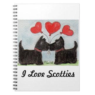 AMO cumpleaños de los perros del escocés del CUADE Spiral Notebooks