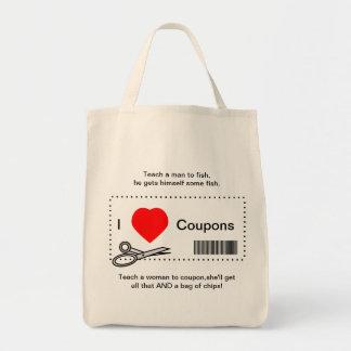 Amo cupones - enseñe a un hombre a pescar bolsa tela para la compra