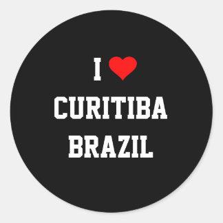Amo Curitiba, el Brasil Etiqueta Redonda