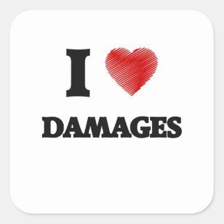 Amo daños pegatina cuadrada