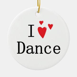Amo danza adorno navideño redondo de cerámica