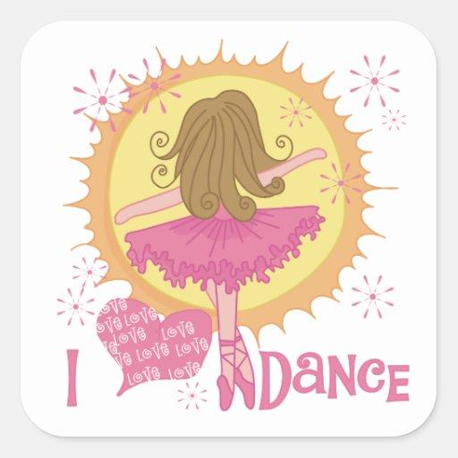 Amo danza pegatina cuadrada