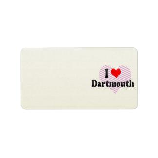 Amo Dartmouth, Canadá Etiqueta De Dirección