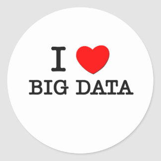 Amo datos grandes etiqueta redonda