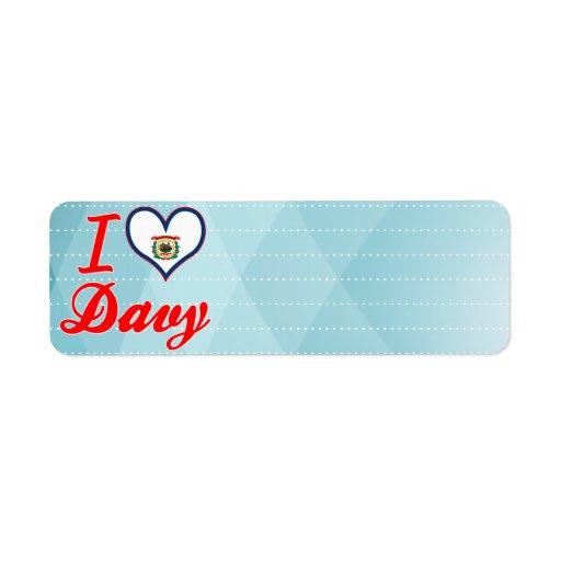Amo Davy, Virginia Occidental Etiquetas De Remite