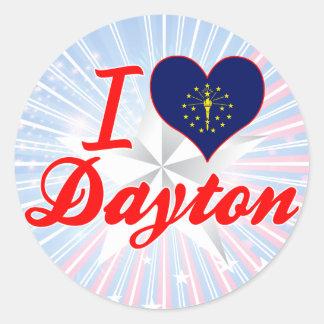 Amo Dayton, Indiana Pegatina Redonda