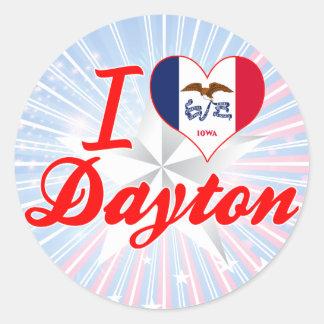 Amo Dayton, Iowa Pegatina Redonda