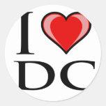 Amo DC - distrito de Columbia Pegatina Redonda