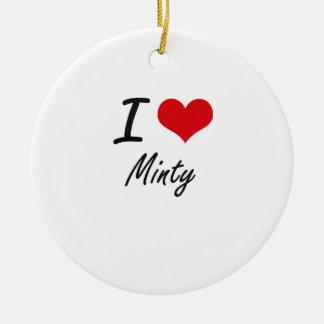 Amo de menta adorno navideño redondo de cerámica