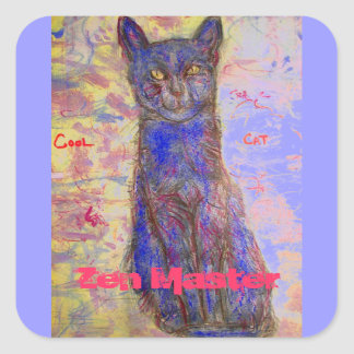 amo de zen fresco del gato pegatina cuadrada