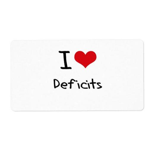 Amo déficits etiquetas de envío
