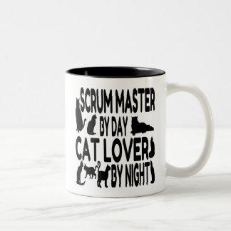 Amo del melé del amante del gato taza de café de dos colores