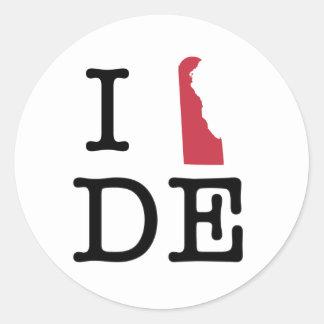 Amo Delaware Pegatina Redonda