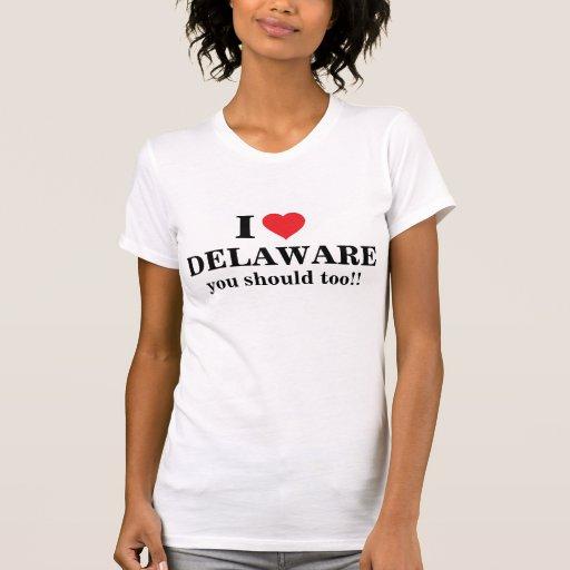 ¡Amo Delaware, usted debo también! Camisetas