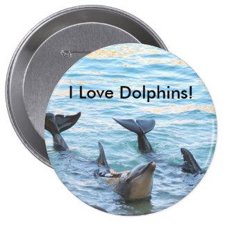 ¡Amo delfínes! Foto del delfín Pin Redondo De 4 Pulgadas