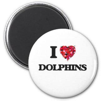 Amo delfínes imán redondo 5 cm