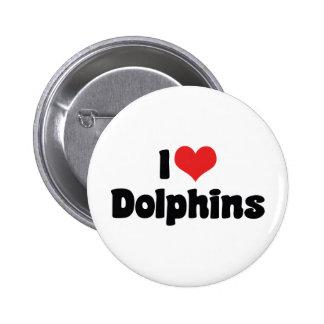 Amo delfínes pin redondo de 2 pulgadas