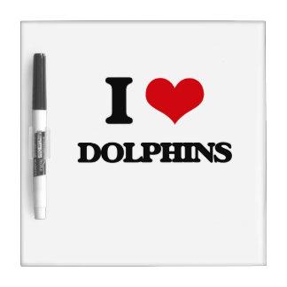 Amo delfínes pizarra blanca